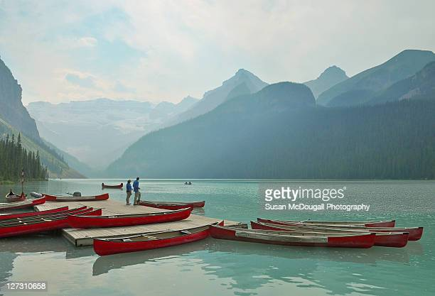 canoe rentals - lake louise lake stock photos and pictures