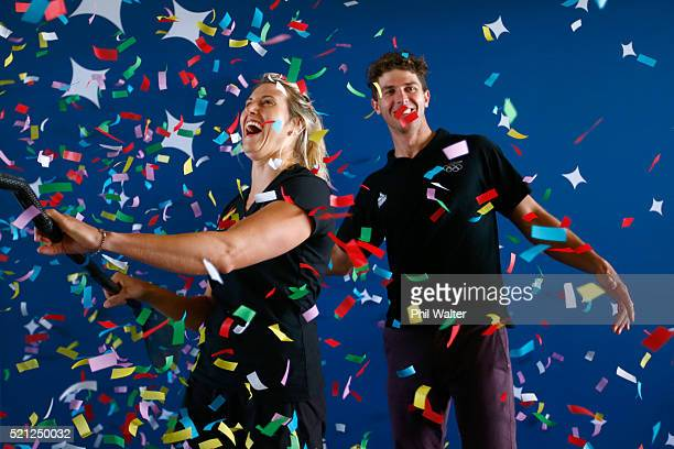 Canoe Slalom paddler's Luuka Jones and Mike Dawson a sprayed with confetti during the New Zealand Olympic Canoe Slalom Team Selection announcement at...
