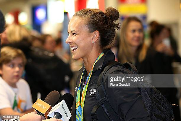 Canoe Sprint Double Olympic medalist Lisa Carrington arrives during the New Zealand Olympic Games athlete home coming at Auckland International...