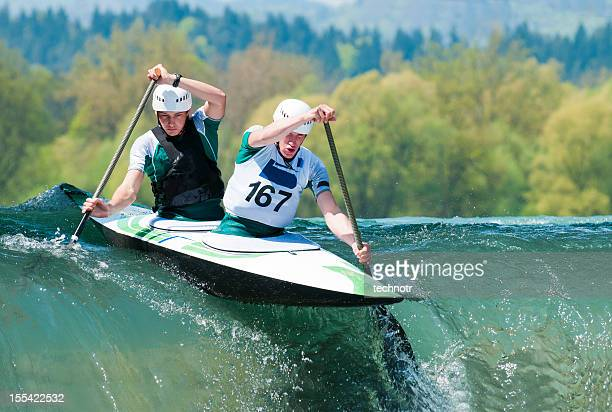 canoe team starting the race - swift river stock pictures, royalty-free photos & images