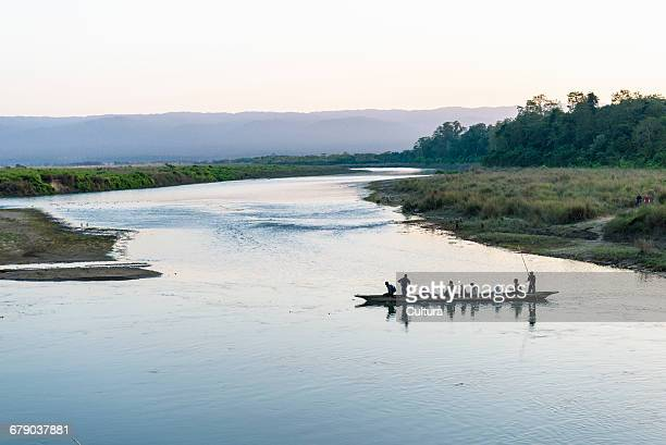 canoe tour, chitwan national park, chitwan, nepal - chitwan stock pictures, royalty-free photos & images
