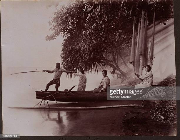 Canoe with outriggers is on a beach, pointed out to sea. A man stands in the front of the canoe, holding a long spear, preparing to spear ponitas . A...