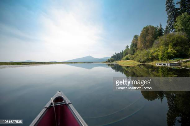 canoeing and kayaking near mt. shasta, oregon. - mt shasta stock pictures, royalty-free photos & images