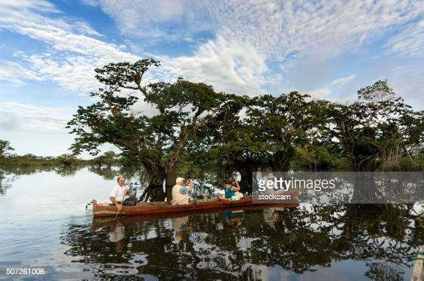 Canoeing in Ecuadorian rainforest
