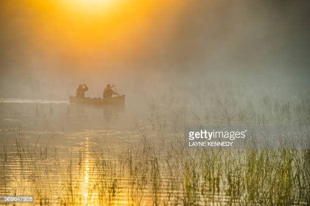 canoeing in minnesota's bpundary waters canoe area wilderness (bwca) - boundary waters canoe area stock pictures, royalty-free photos & images