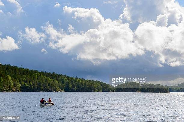 canoeing in sweden - dalsland stock photos and pictures
