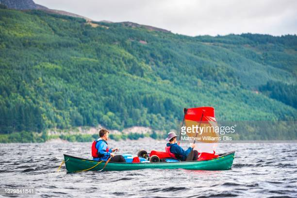 canoeing loch ness section of the caledonian canal, scottish highlands, scotland, united kingdom, europe - loch ness stock pictures, royalty-free photos & images