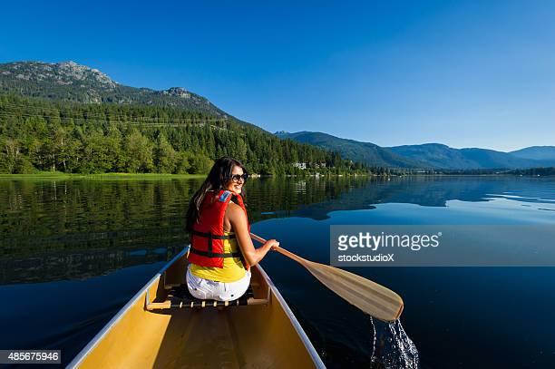 Canoeing on a prisitine mountain lake