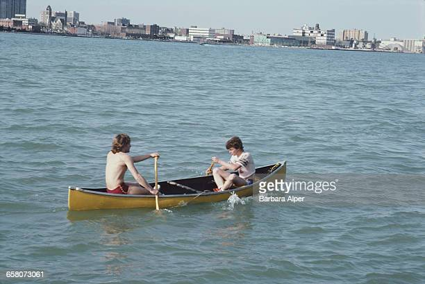 Canoeing on the Detroit River in Detroit, Michigan, April 1986.