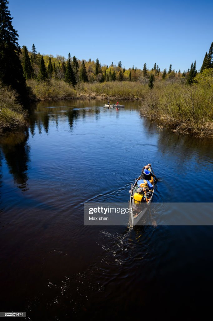 Canoeing on the river in Algonquin Provincial Park : Stock Photo