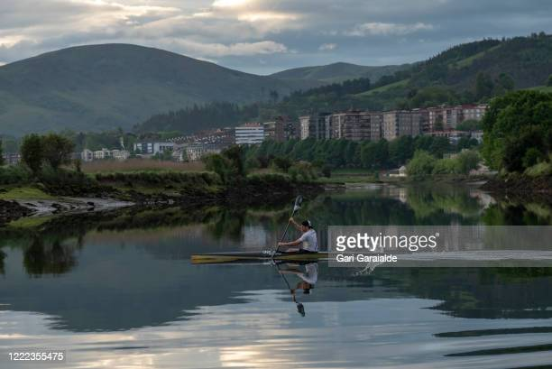 Canoeist Borja Estomba rows for the first time since the confinement began, on May 02, 2020 in Irun, Spain. Spain continues to ease the Covid-19...