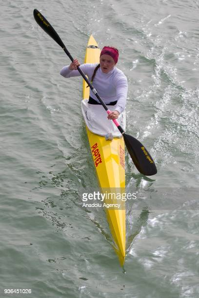 A canoeist paddles during the 2018 International Canoe Federation Marathon as part of the Gloria Cup Long Distance 5000 meters flat water race in...
