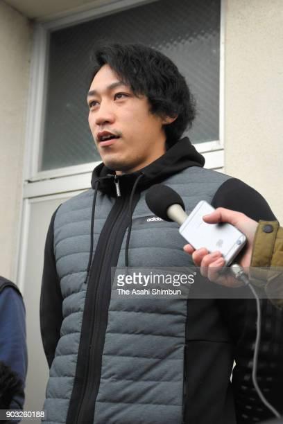 Canoeist Seiji Komatsu speaks to reporters on January 10 2018 in Komatsu Ishikawa Japan Komatsu was disqualified at the 2017 Canoe Spring Japan...