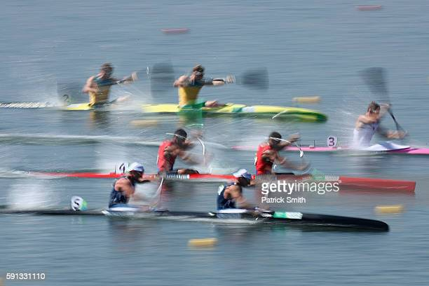 Canoeists compete in the Canoe Sprint Men's Kayak Double 200m semifinal 1 during Day 12 of the Rio 2016 Olympic Games at Lagoa Stadium on August 17...