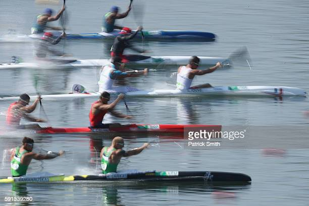 Canoeists compete in the Men's Kayak Double 200m Heat 2 during Day 12 of the Rio 2016 Olympic Games at Lagoa Stadium on August 17 2016 in Rio de...
