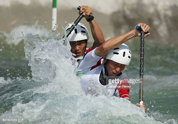 Canoeists Hiroyuki Nagao and Masatoshi Samma of Japan practice at the Shunyi Olympic Rowing-Canoeing Park ahead of the Beijing 2008 Olympic Games on...
