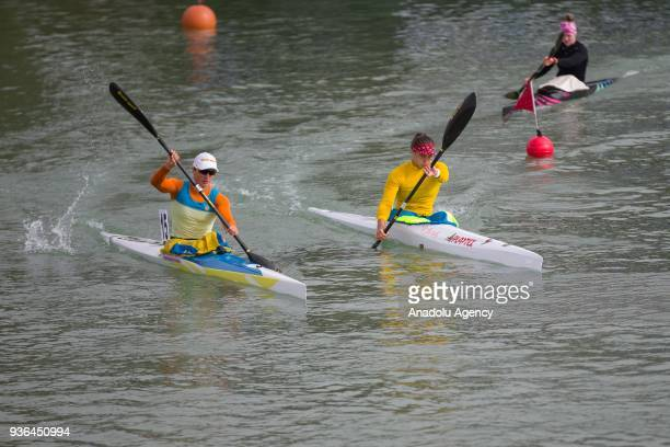 Canoeists paddle during the 2018 International Canoe Federation Marathon as part of the Gloria Cup Long Distance 5000 meters flat water race in Belek...