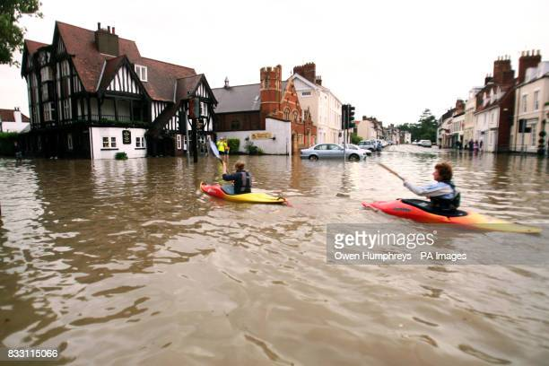 Canoeists take advantage of the floods in Beverley East Yorkshire today