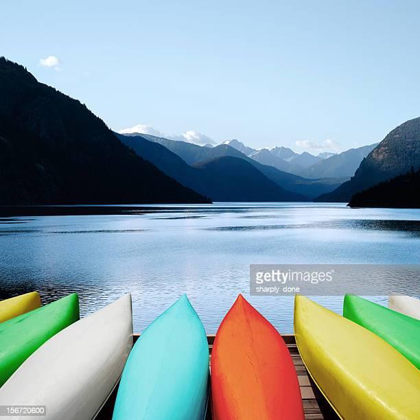 XXXL canoes and mountain lake