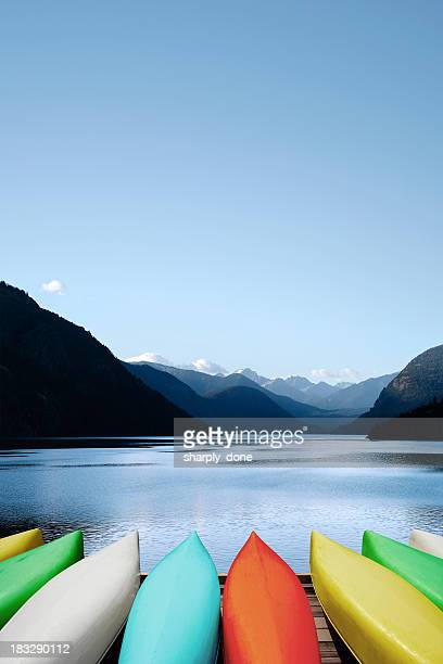 xxxl canoes and mountain lake - idaho stock pictures, royalty-free photos & images