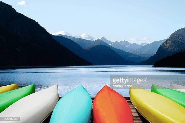xl canoes and mountain lake - idaho stock pictures, royalty-free photos & images