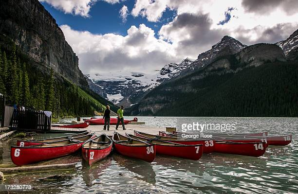 Canoes are rented at the Fairmont Chateau Lake Louise boathouse on June 26 2013 in Lake Louise Alberta Canada Major flooding along the Bow River in...