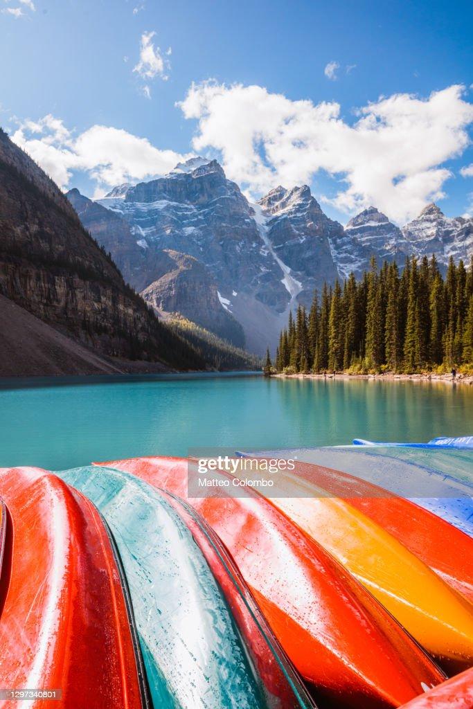 Canoes at Moraine lake, Banff National Park, Canada : Stock Photo