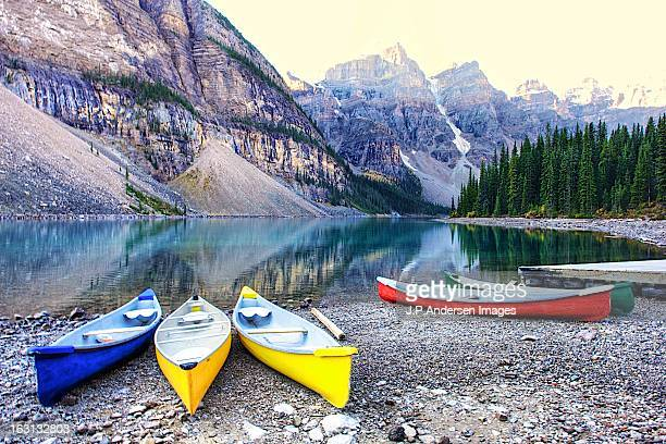 Canoes at Moraine Lake, in Explore!