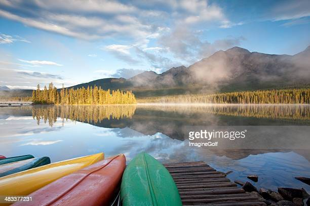 Canoes at Mountain Lake