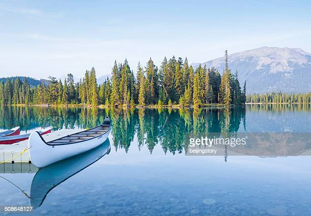 Canoes at Mountain Lake-Tranquil Scene