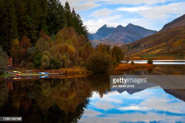 canoes, capel curig, snowdonia, north wales - landscape scenery stock pictures, royalty-free photos & images
