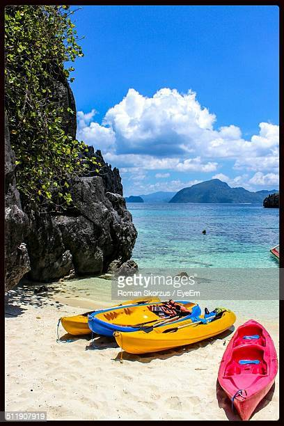 Canoes moored on shore