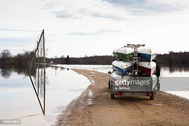 canoes on a trailer - swift river stock photos and pictures