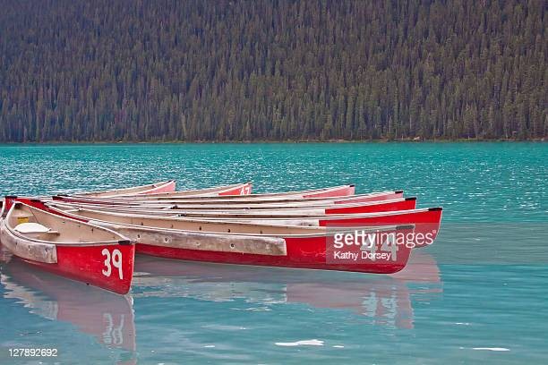 canoes on lake louise - louise dorsey stock pictures, royalty-free photos & images