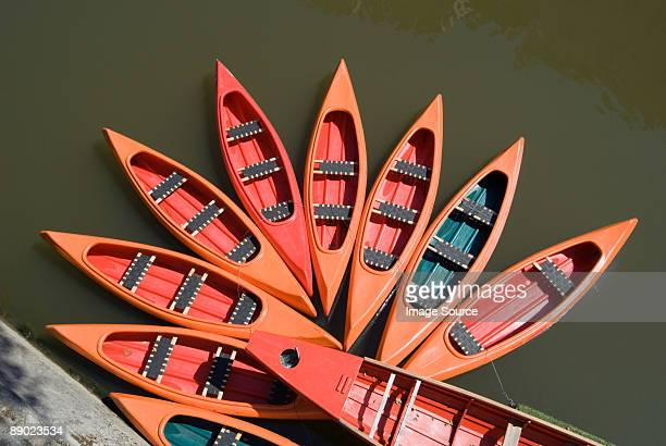 canoes on ljubljanica river - ljubljana stock pictures, royalty-free photos & images
