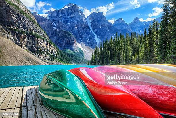 canoes - lake louise stock photos and pictures