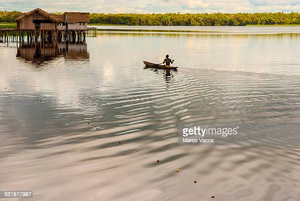 Canoing in lake in Africa