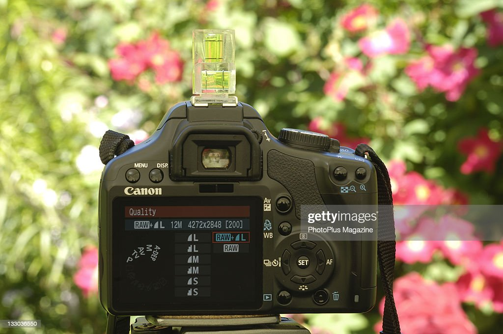 A Canon 450D SLR camera showing quality mode on the display
