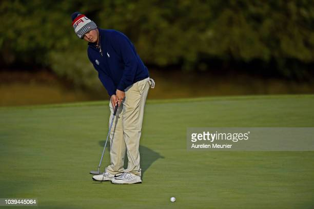 Canon Claycomb of Team USA putts during the fourballs on day one of the 2018 Junior Ryder Cup at Disneyland Paris on September 24 2018 in Paris France