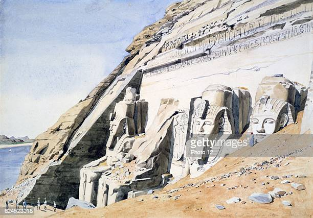 Canon G F Weston Front of the Great Temple in Abu Simbel' sandstone statues of Ramses II Watercolour