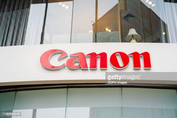 Canon logo seen in Shanghai.