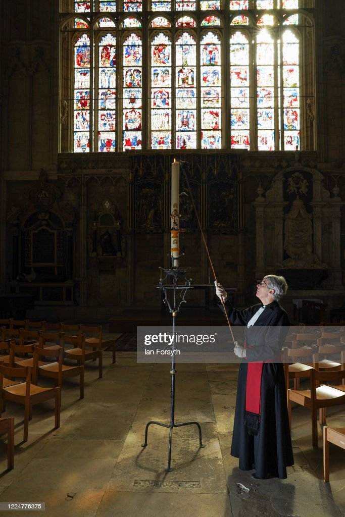 Paschal Candle Is Lit In Memory Of Victims Of Coronavirus At York Minster : News Photo
