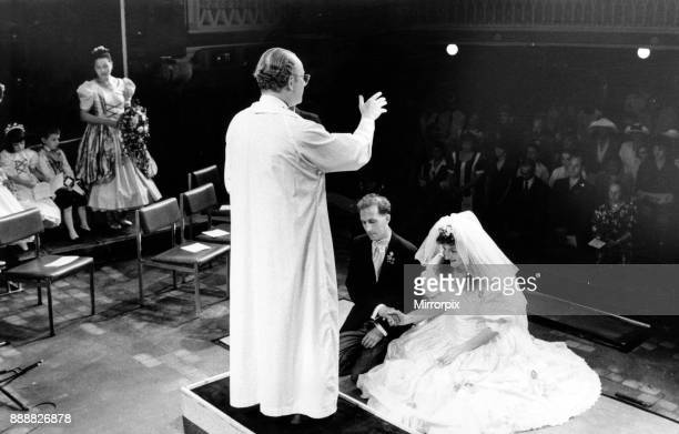 Canon Nicholas Freyling performs the wedding blessing of Andy Gale and Carrie Stevens at Liverpool Playhouse 19th July 1992