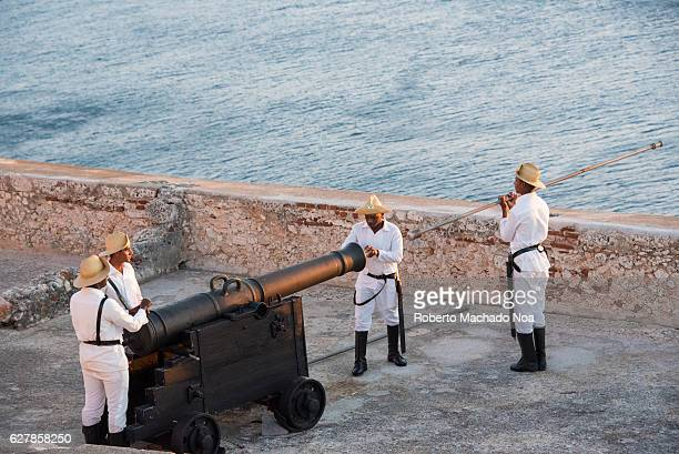 Canon salute shooting in Castillo de San Pedro de la Roca o Castillo de El Morro The fortress was declared a World Heritage Site by UNESCO in 1997...