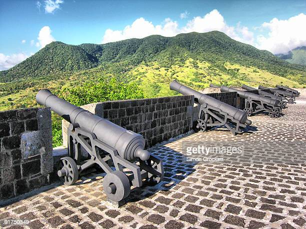 canons at brimstone hill - st. kitts stock photos and pictures