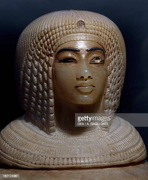 Canopic jar of Ahmose alabaster Egyptian Civilisation New Kingdom Dynasty XVIII Cairo Egyptian Museum