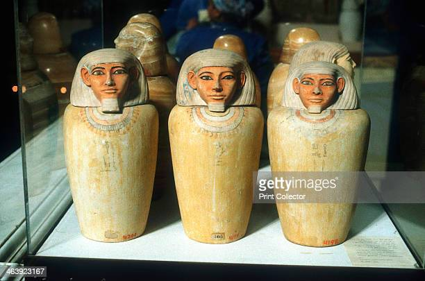 Canopic Jars Ancient Egyptian 26th dynasty 664525 BC These were used to contain the viscera of a dead person usually for burial with their mummified...