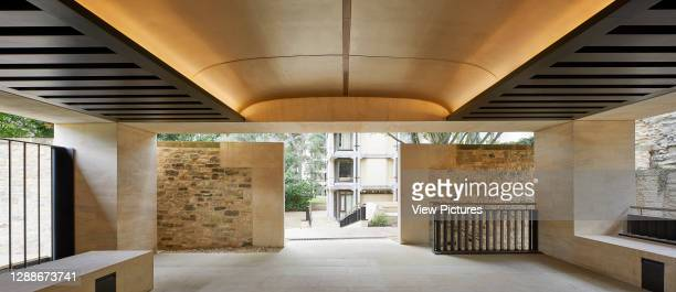 Canopied portico space. Study Centre at St Johns College Library, Oxford, United Kingdom. Architect: Wright & Wright Architects LLP, 2019.