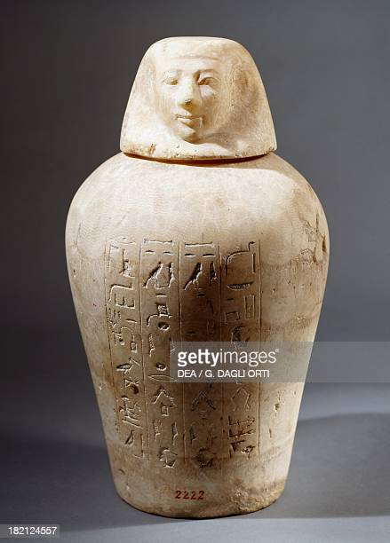 Canopus in alabaster from a Theban tomb Egyptian Civilisation Florence Museo Archeologico Nazionale Museo Egizio