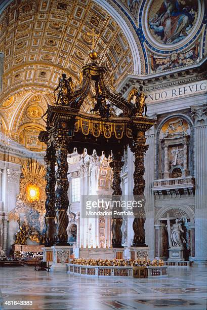 Canopy of Saint Peter in Vatican City by Gian Lorenzo Bernini 1624 1633 17th Century coated and golden bronze Vatican City Saint Peter Basilica Whole...